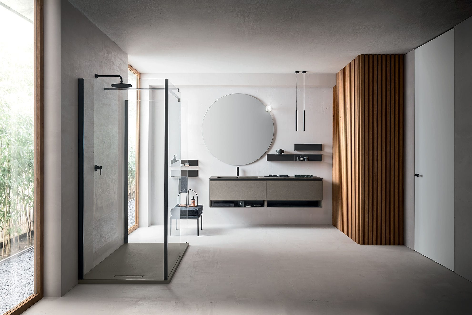 Double washbasin cabinet / wall-hung / wooden / glass